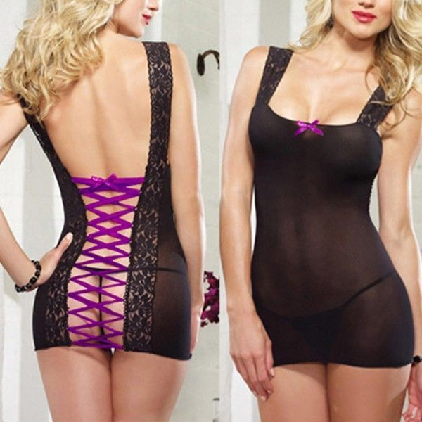 Women Lingerie Black Lace Babydoll Sleepwear Sheer Underwear+G-String Teddy H46