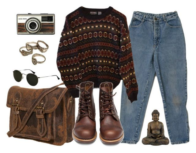 """""""it feels like we only go backwards"""" by alicemsrose ❤ liked on Polyvore featuring Ray-Ban, INDIE HAIR and Red Wing"""