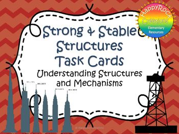 Looking for a great way to review or assess the grade 3 Ontario science unit Understanding Structures and Mechanisms: Strong and Stable Structures? Check out these task cards! These 20 task cards cover a range of curriculum expectations and content information (definitions of key terms [strut, tie, stability, strength], properties of materials, natural vs.
