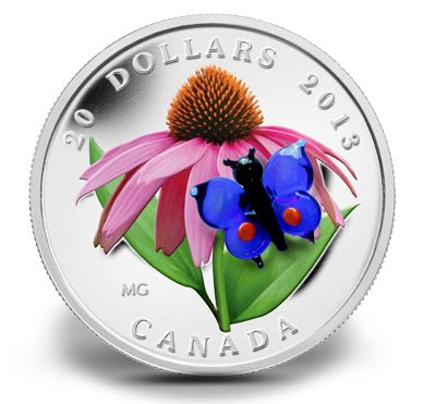 Fine Silver Coin - Purple Coneflower with Venetian Glass Butterfly - Mintage: 10000 (2013)