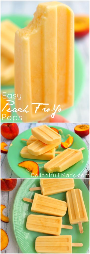 Easy Peach Froyo Popsicles -  With just three ingredients these frozen treats are healthy, easy and completely delicious!  Perfect for cooling off on a hot day, these frozen pops are a fantastic summer snack that everyone in the family will love!