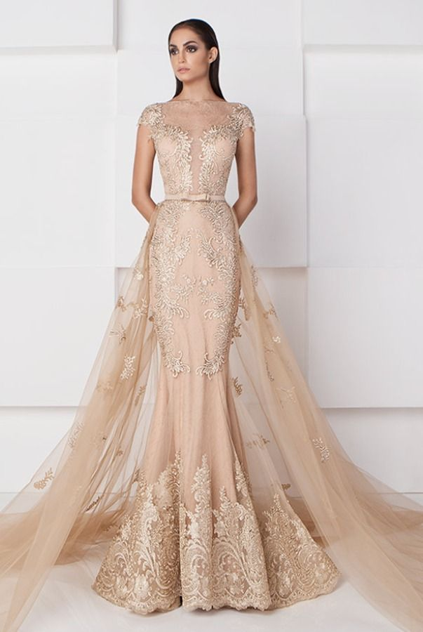 SK by Saiid Kobeisy Gold Nude Lace and Tulle Couture Mermaid Gown ... bea6fcb5d851