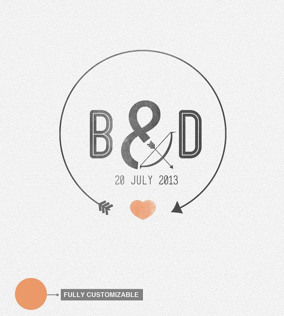 Love Arrow Wedding Logo by logotype on Etsy, €50.00