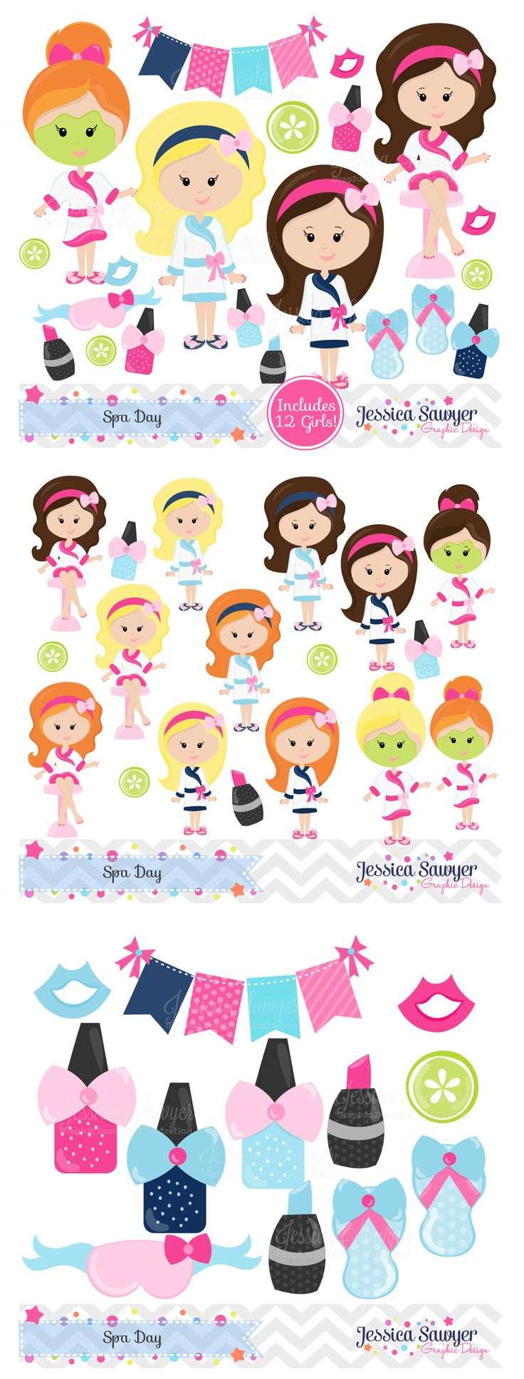 Spa Clipart and Vectors for a Spa Party. Personal and Commercial Use okay.