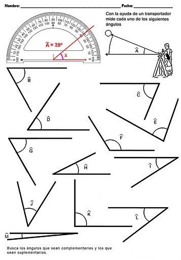 Diversas fichas para imprimir sobre ángulos, triángulos, cuadriláteros, polígonos, áreas, etc...