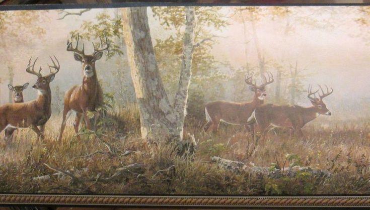Woodland Deer Herd Morning Feed Walk Wallpaper Border Outdoor Woods 5 Yard Roll
