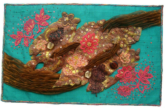 05-2008 Pacific Island- The beauty of Vanuatu- Mixed media on raw silk, Noyon lace, hand embroidery and beading, organza plisse. 30cm x 50cm