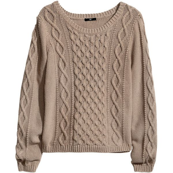 H&M Cable-knit jumper (760 RUB) ❤ liked on Polyvore featuring tops, sweaters, shirts, jumpers, mole, sleeve shirt, shirt sweater, brown sweater, brown cable knit sweater and chunky cable knit sweater