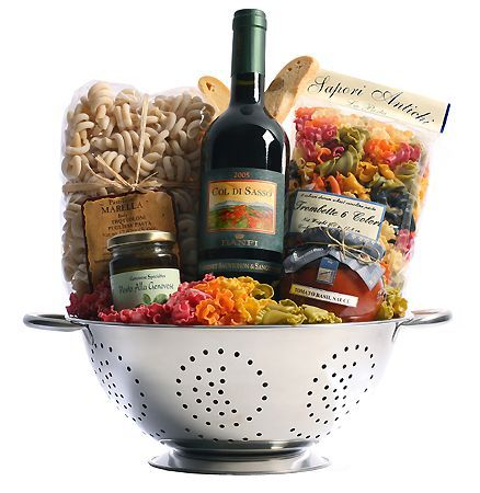 Great Gift Basket idea: Italian wine, colander, unique pasta, tomato sauce, pesto, and biscotti.: