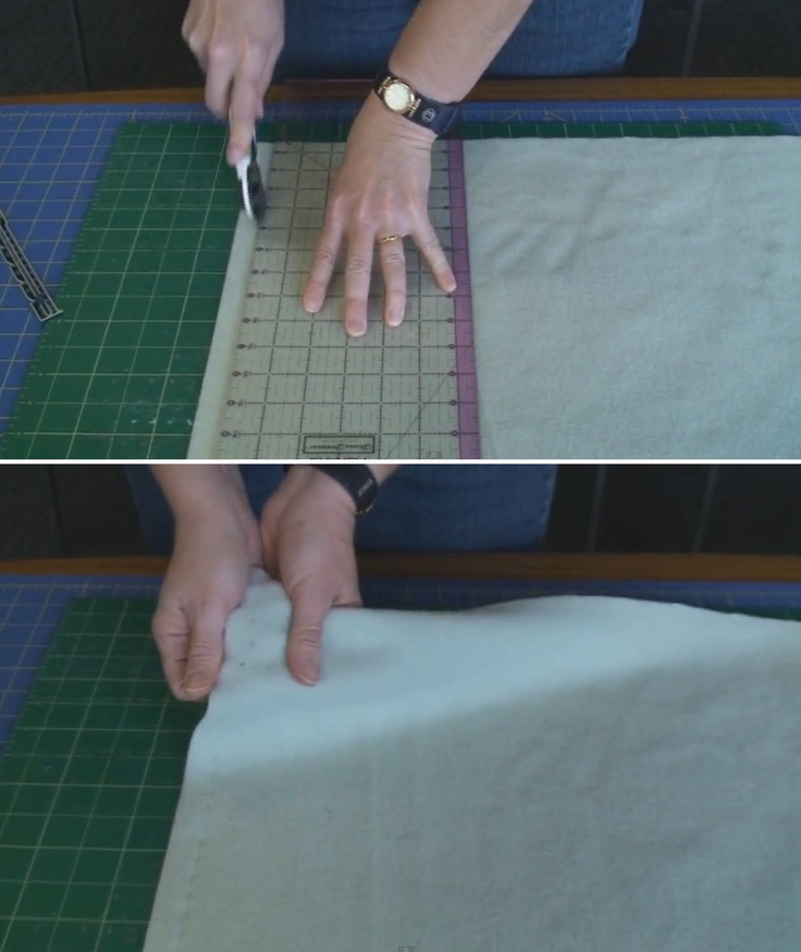 Use this technique to cut holes in fleece, flannel, wool, felt, etc. as an easy way to crochet an edge around these fabrics. The video goes on to show you how to crochet around the fleece blanket.