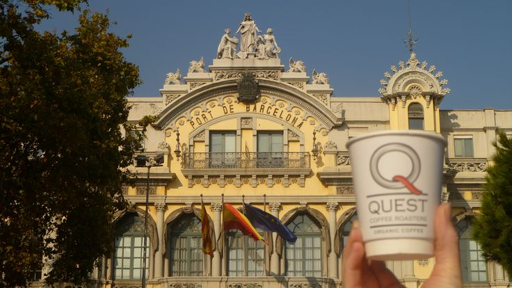 Our old logo Quest Coffee Roasers coffee cup in Barcelona