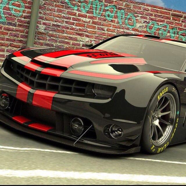Black w/ red racing striped Camaro SS!