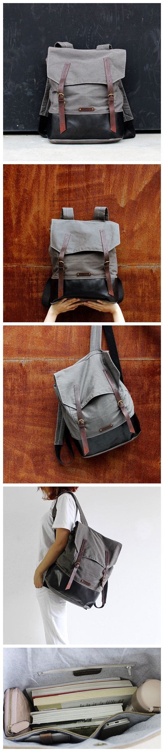 Handmade Waxed Canvas School Backpack Casual Rucksack Travel Backpack Laptop Bag 14057