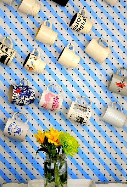 DIY Pegboard mugs- so much better than cramming them all in a cupboard