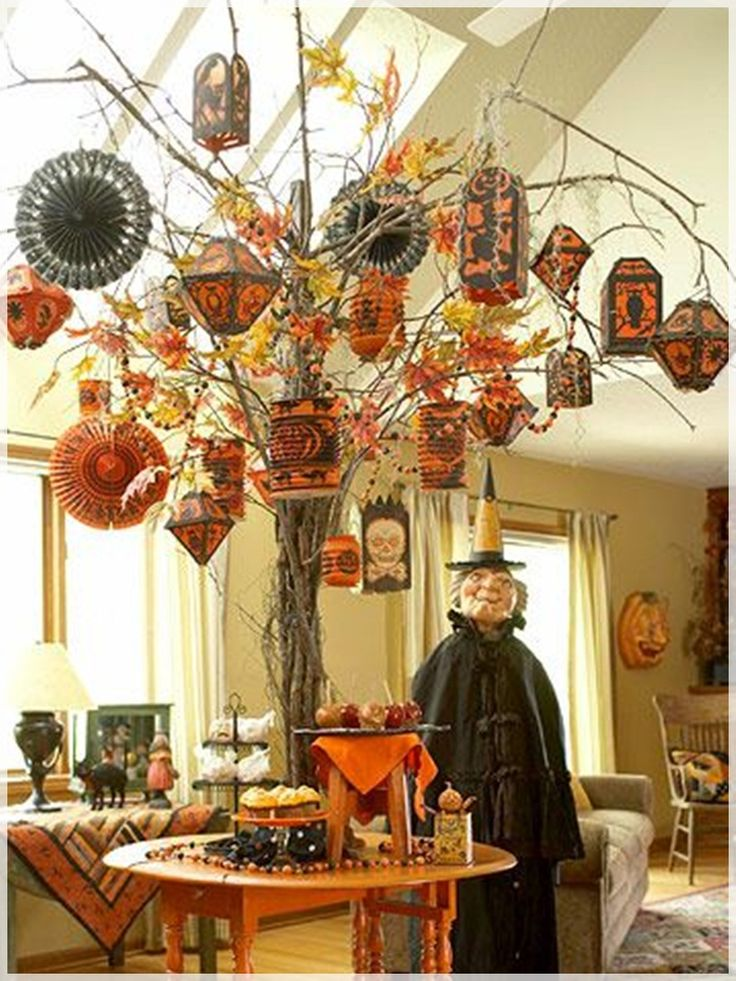 living room appealing halloween living room design with orange lantern tree and sculpture wizards for gypsy witch decoration picture a part of awesome - Fall Halloween Decorations
