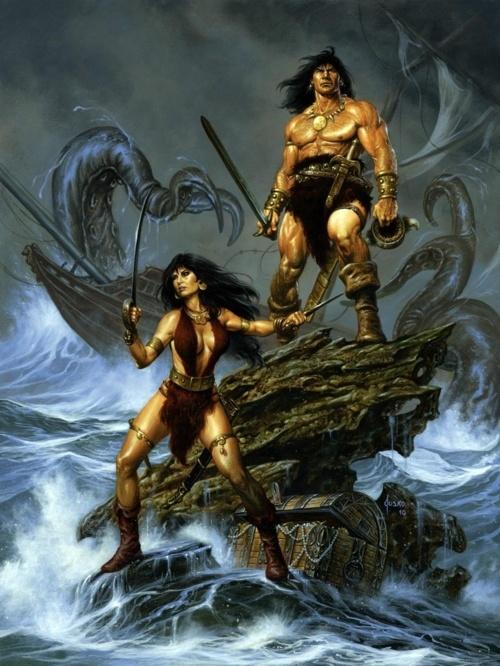Conan and Belit: Comic Heroes, Fantasy Art, Comic Books, 0Fantasi Art, Conan And Belit By Joejusko, Artgeek Art, Red Sonja, Comic Art, Joe Jusko