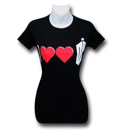 The 100% cotton I Double Heart Doctor Who Women's T-Shirt displays your double heart-ed affection for BBC's Dr. Who! Wait, you have two hearts? How did you manage to swing that?