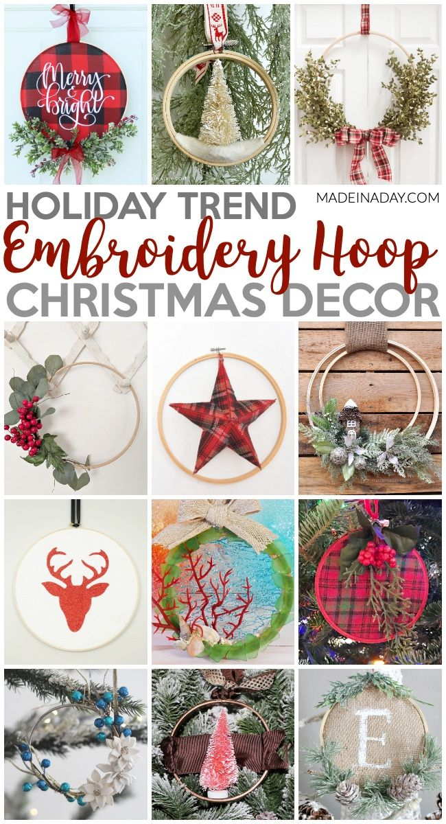12 Of The Best Embroidery Hoop Christmas Decorations With Images Holiday Crafts Christmas Ornaments Gifts Christmas Diy