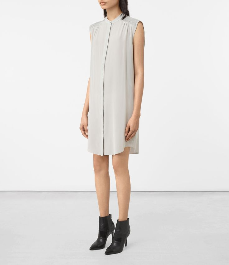 ALLSAINTS UK: Womens Sirius Silk Dress (STORM GREY)