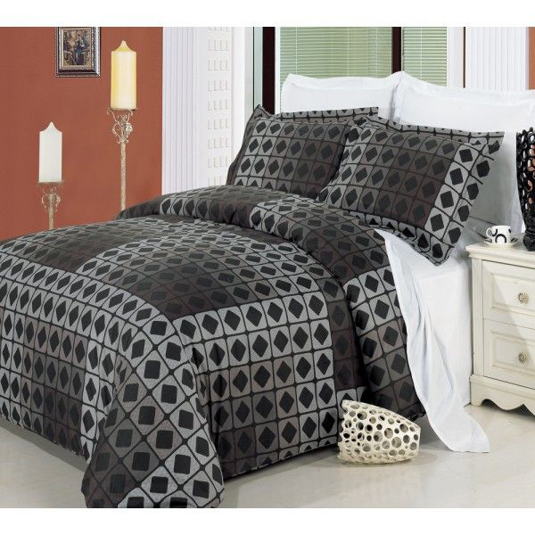 Men S Duvet Cover Taupe Geometric Brown Black Duvet