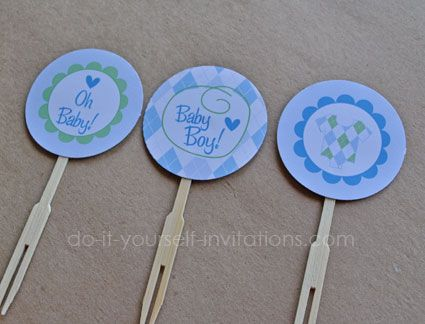 Cupcake Toppers  Part Of Our Blue Argyle Baby Shower Invitation Template  Kit. Also,