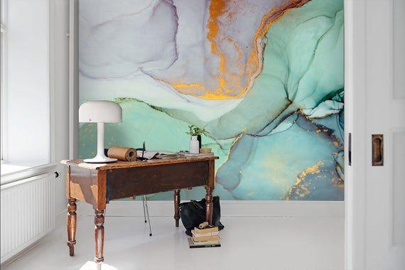 3d Watercolor Gold Foil Wallpaper Removable Self Adhesive Etsy Mural Wallpaper Traditional Wallpaper Wall Murals