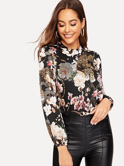 4bf4d3d07ac95 Keyhole Back Floral and Tiger Print Top in 2019