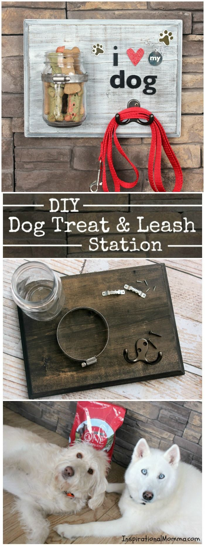This DIY Dog Treat & Leash Station conveniently stores treats and a leash while adding a personal touch to a dog-lover's decor! @Purina @Target #FeedDogsPurina #Ad