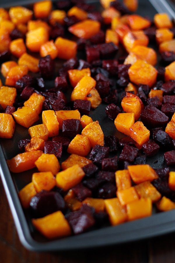 Roasted Butternut Squash and Beets: minus the maple, and add/sub sweet potatoes if no butternut squash
