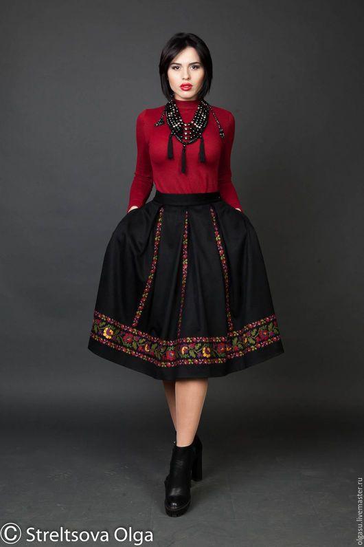Вышитая черная юбка `Панянка` юбка с складку