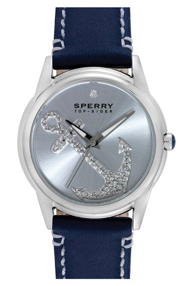 Sperry+'Audrey'+Pavé+Anchor+Leather+Strap+Watch,+38mm+available+at+#Nordstrom