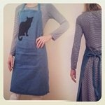 """Lets get started with the holiday baking! """"Little Cat Denim Apron""""- by Paloma Le Sage Handprinted"""