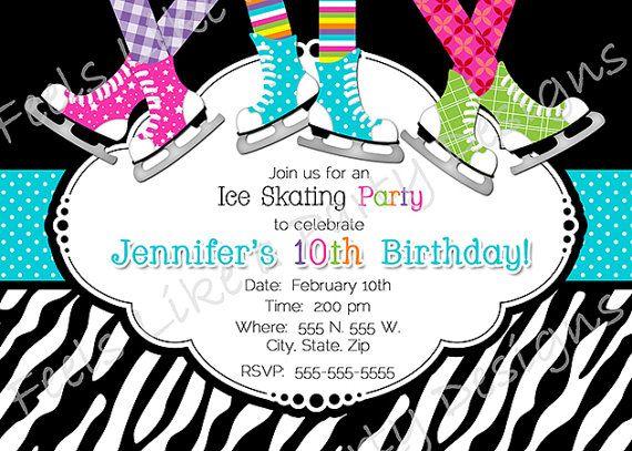 Custom Ice Skating Party Invite by FeelsLikeAParty on Etsy, $12.00