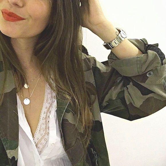 Veste camouflage femme mi-saison style militaire kaki