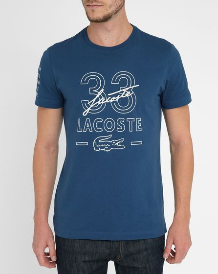 Blue Lacoste Embroidered Signature T-Shirt LACOSTE