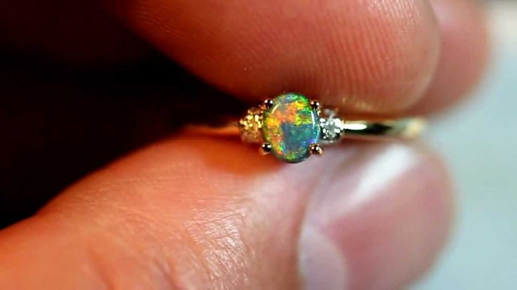 Solid Black Fire Opal 18k Yellow Solid Gold Engagement Ring size 6.5 MICK'S - opal engagement rings - http://jewellery.chitte.rs/rings/solid-black-fire-opal-18k-yellow-solid-gold-engagement-ring-size-6-5-micks-opal-engagement-rings/