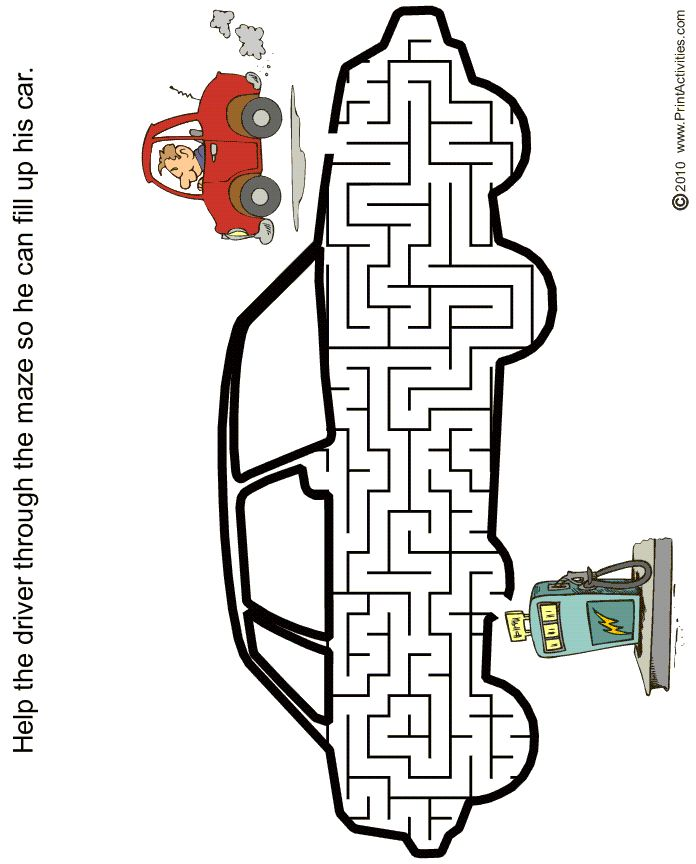 CARSONS CAR PARTY Car shaped maze from PrintActivities.com
