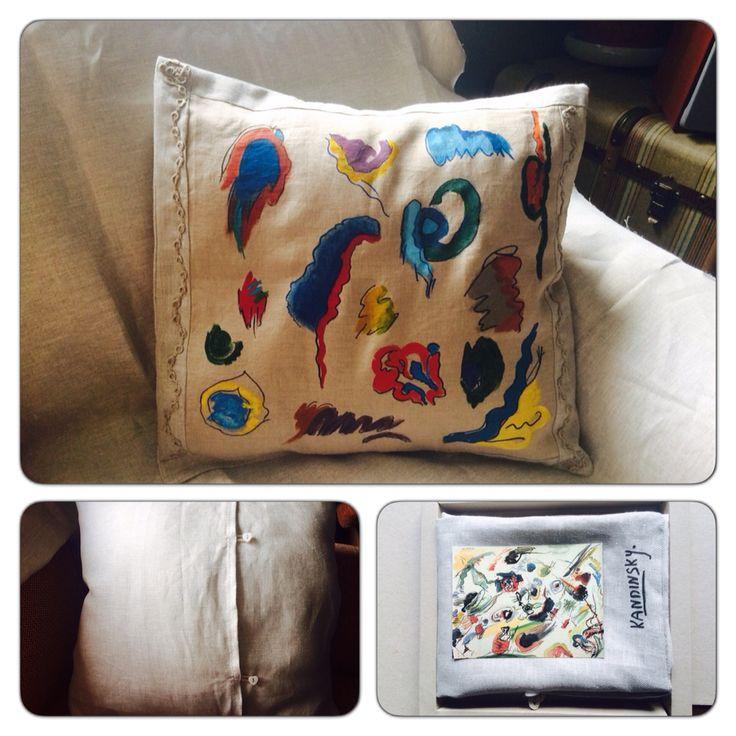 Kandinsky's first abstraction inspired pillow: painted linnen