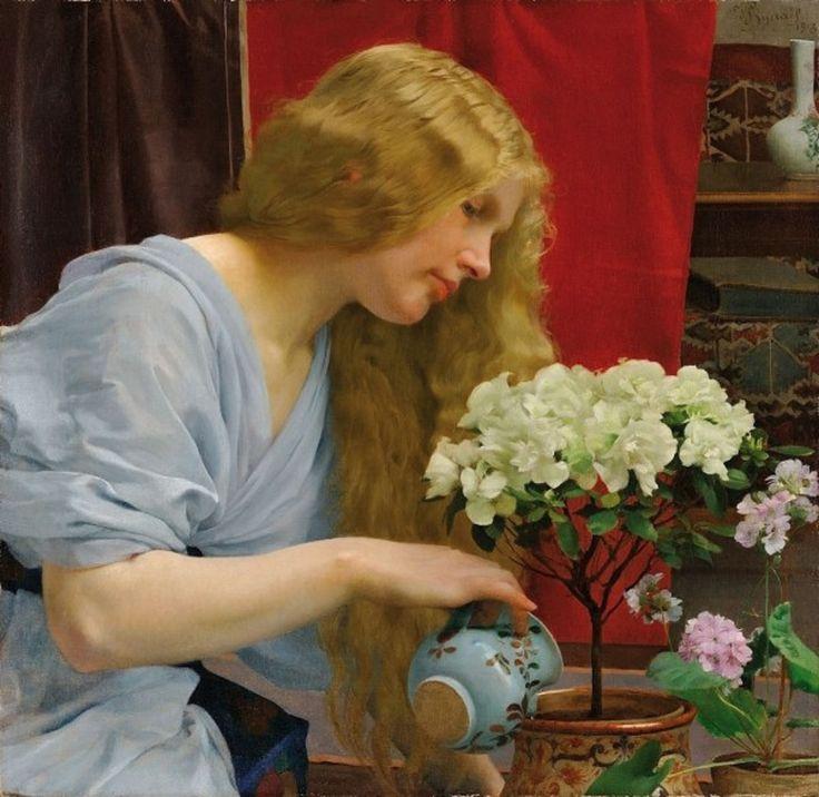 "Vojtěch Adalbert Hynais (Czech, 1854-1925) - ""Dívka s azalkou"" (Girl watering flowers), 1913"