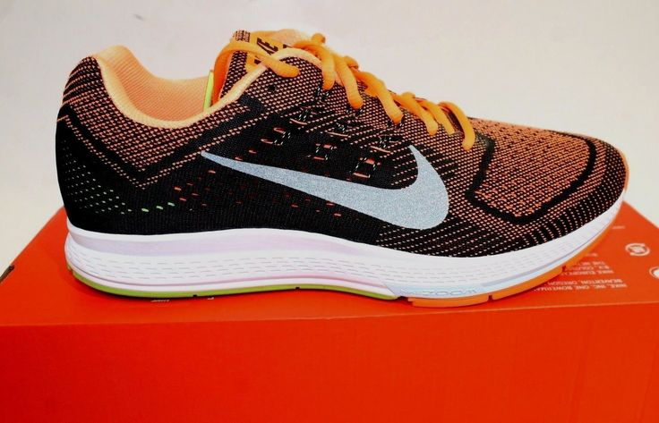 Nike Zoom Structure 18 Men Round Toe Running Shoe 683731 801 Black/Orange Sz 10