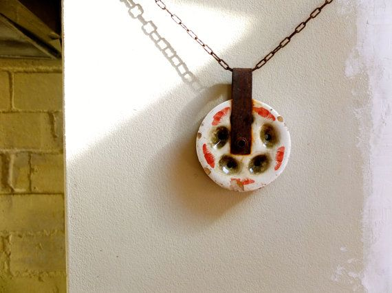 Antique pulley / ceramic garden art /  by ParisRomaNYflea on Etsy