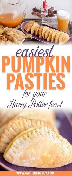 Pumpkin Pasties for your Harry Potter party. These pumpkin filled pockets couldn't be EASIER! They're super simple and a real crowd pleaser! When you're putting together a Harry Potter themed feast, there's a lot to do...make this one the easy one!