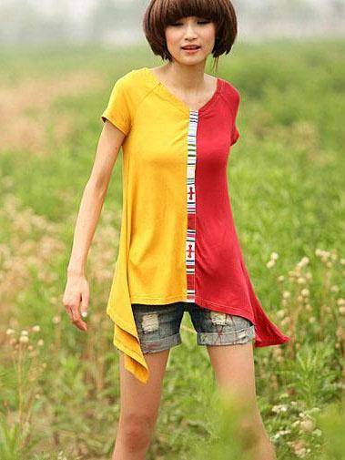 Wholesale cotton neon color block t shirt v neck scissors for Neon colored t shirts wholesale