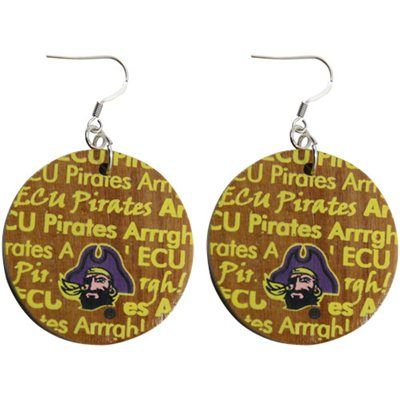 Dayna U East Carolina Pirates Infinity Round Wooden Earrings