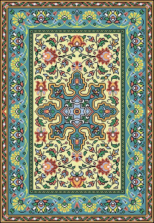 French Vintage Floral Rug Adaptation circa by MyTreasureIsland