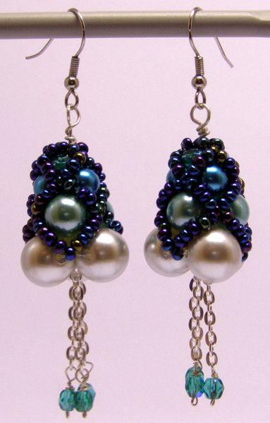 Chandelier Earrings – Light blue tone beaded earrings – a unique product by DarkEyedJewels on DaWanda