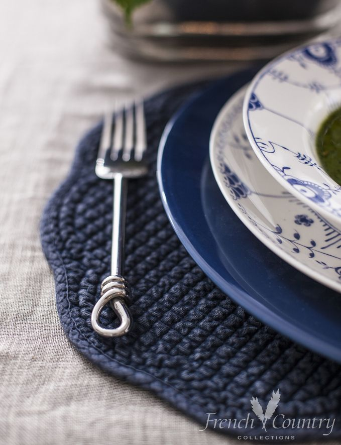 Florence Blue Dinnerware, Midnight Blue Placemat www.frenchcountry.co.nz