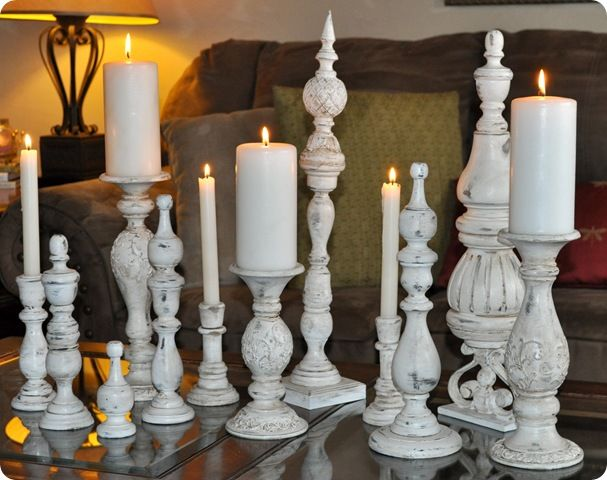 Great idea transforming finials and candlesticks into a beautiful decor statement.
