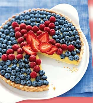 4th of July Dessert: Fruit Pizza, Recipe, Food, 4Th Of July, July 4Th, Berry Topping, Custard Tart, Dessert