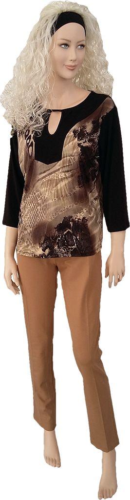 Camiseta combinada, licra estampada en lurex, tono verde o marrón. Tallas M, L y XL.